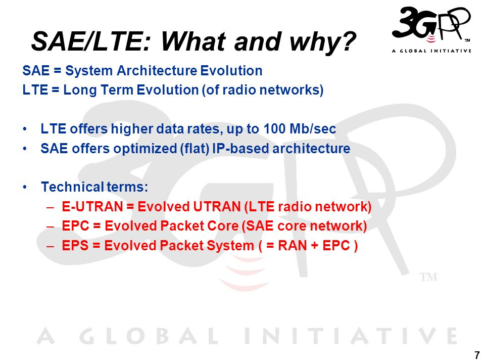 SAE/LTE: What and why SAE = System Architecture Evolution