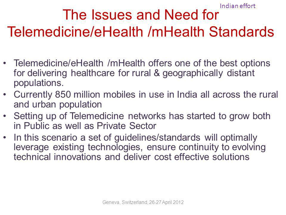 The Issues and Need for Telemedicine/eHealth /mHealth Standards