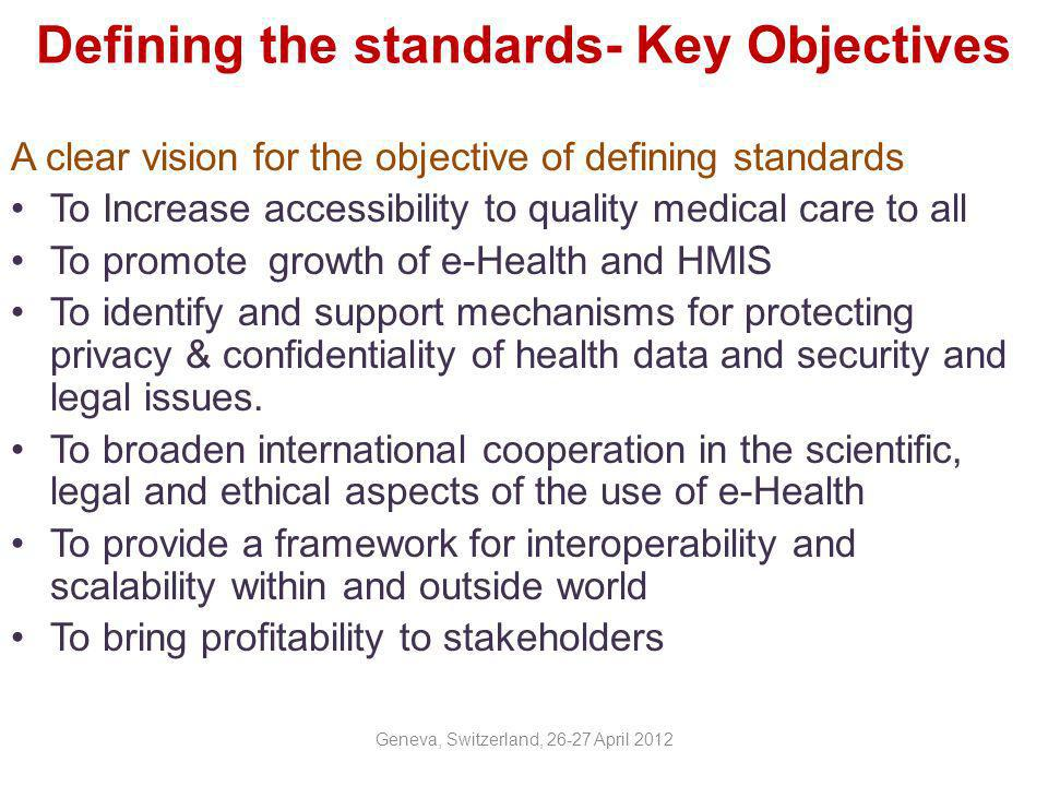 Defining the standards- Key Objectives
