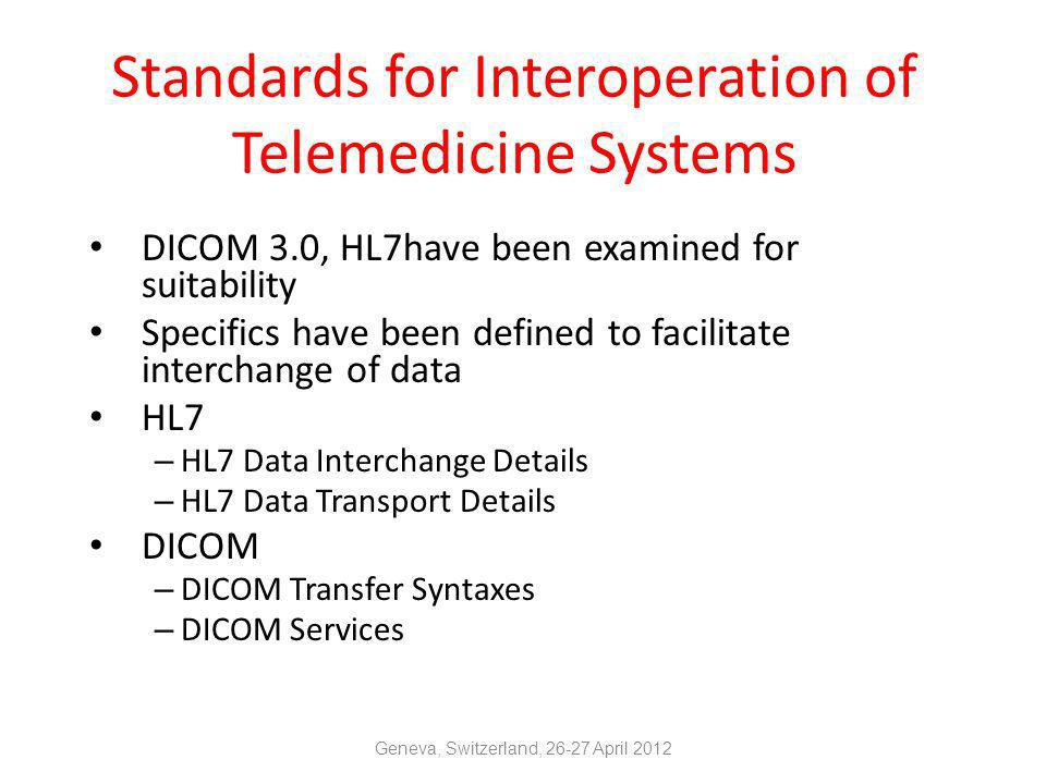 Standards for Interoperation of Telemedicine Systems