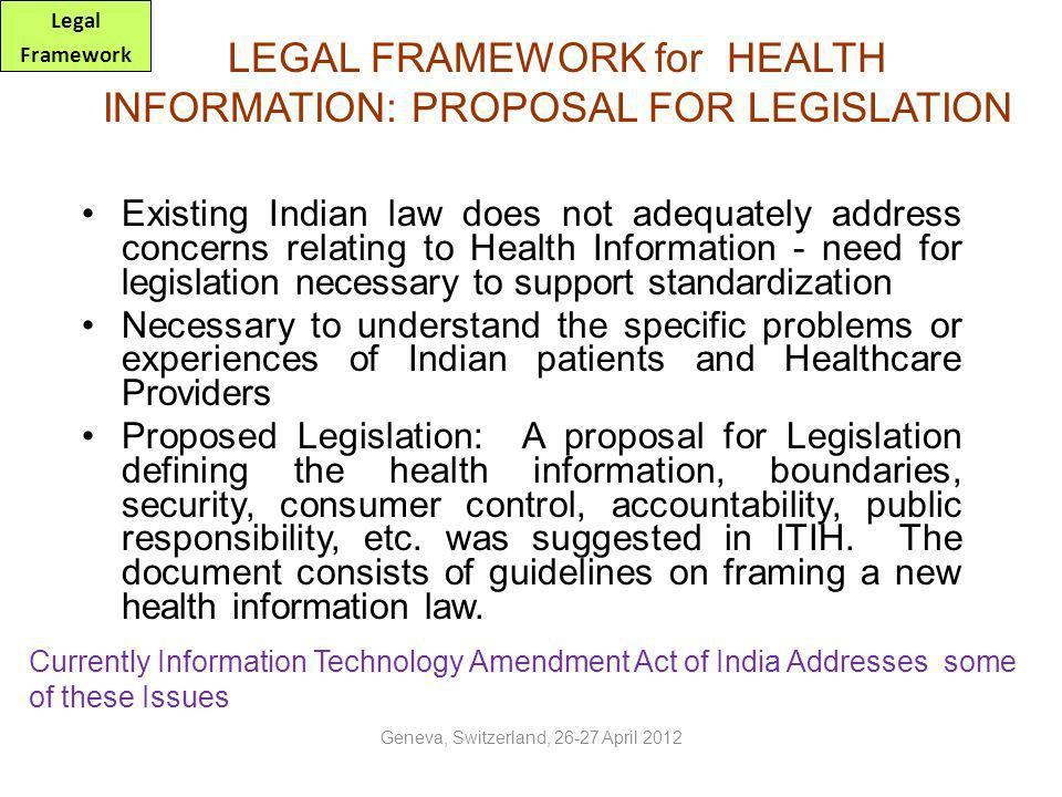 LEGAL FRAMEWORK for HEALTH INFORMATION: PROPOSAL FOR LEGISLATION
