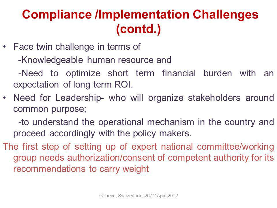 Compliance /Implementation Challenges (contd.)