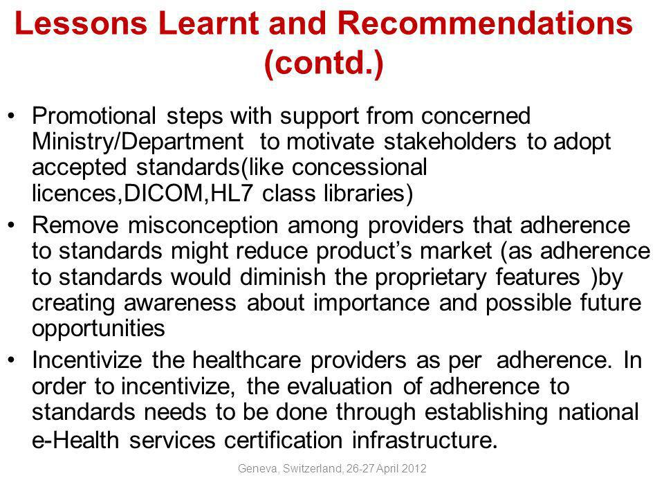 Lessons Learnt and Recommendations (contd.)