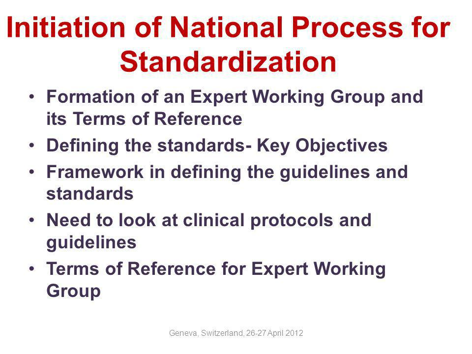 Initiation of National Process for Standardization