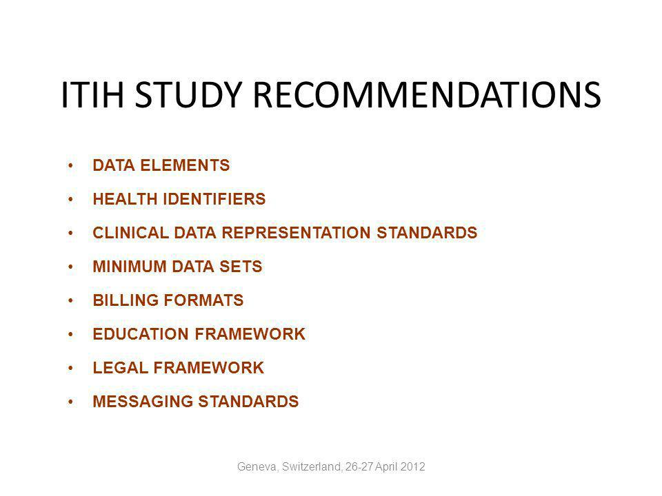 ITIH STUDY RECOMMENDATIONS