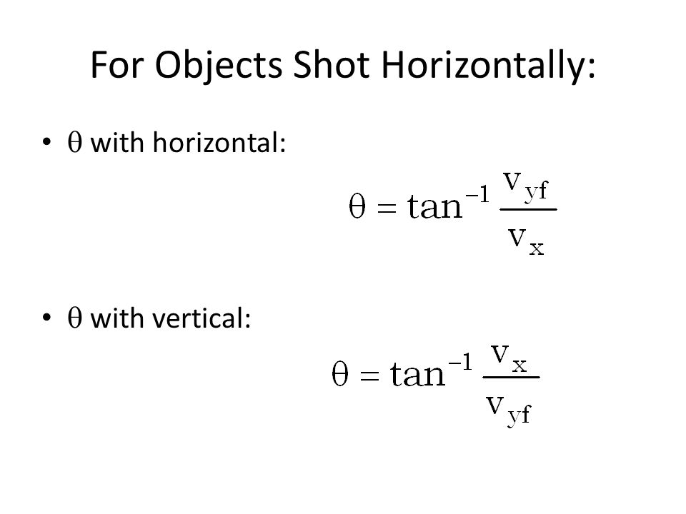 For Objects Shot Horizontally: