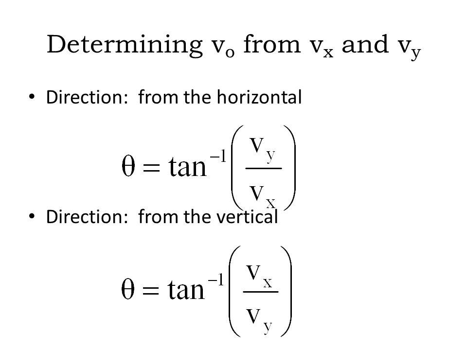 Determining vo from vx and vy