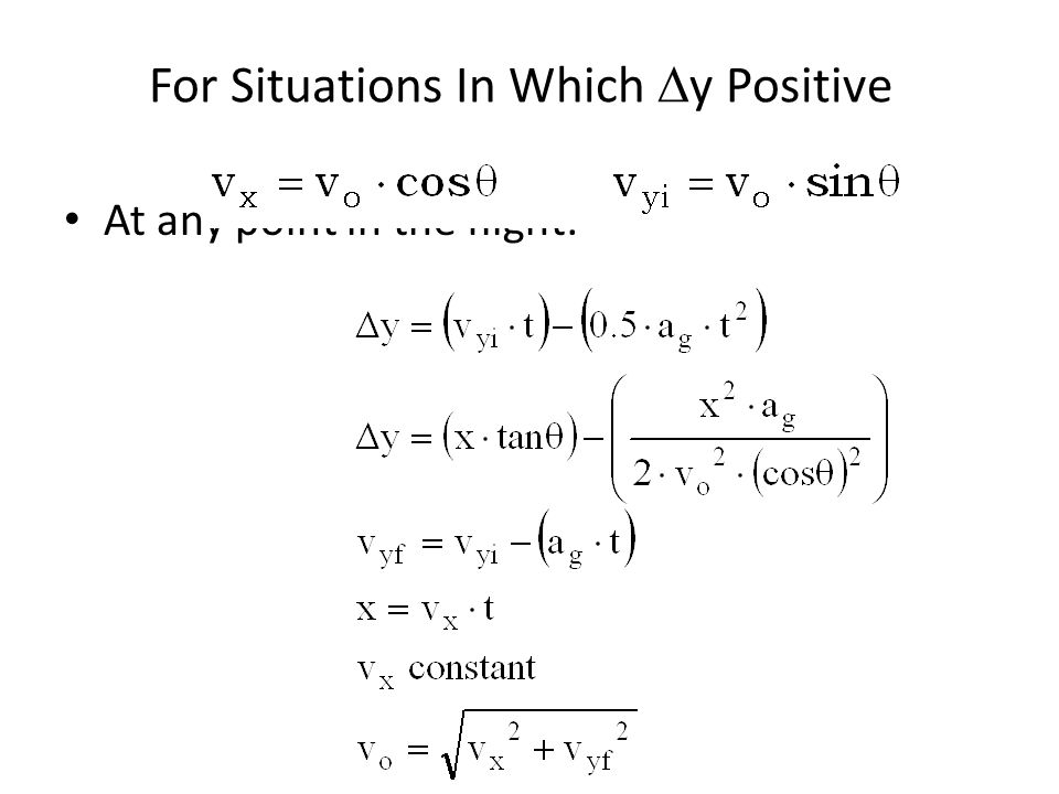 For Situations In Which Dy Positive