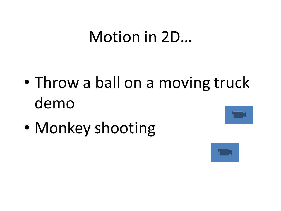 Motion in 2D… Throw a ball on a moving truck demo Monkey shooting