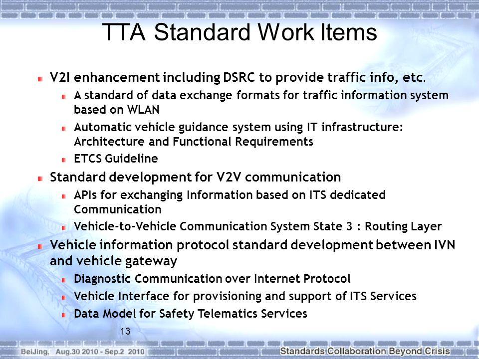 TTA Standard Work Items