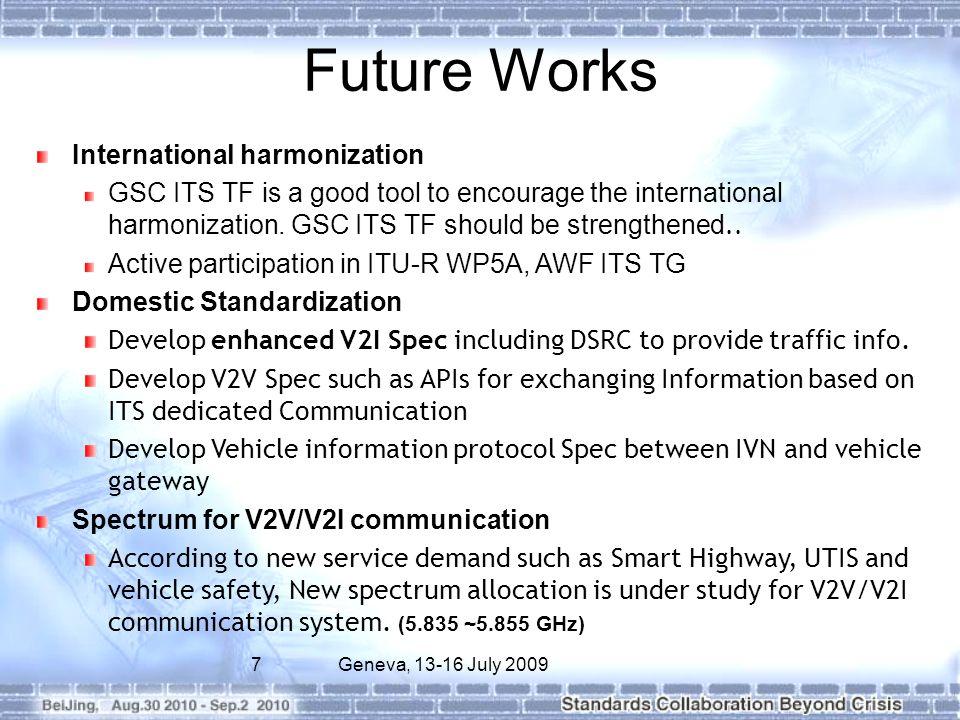 Future Works International harmonization