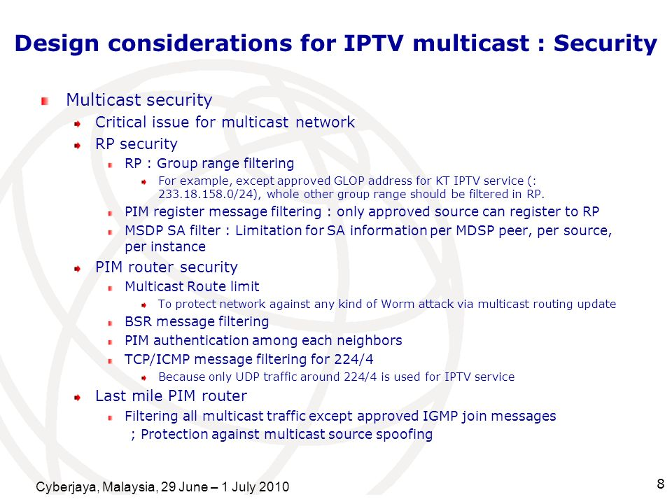 Design considerations for IPTV multicast : Security