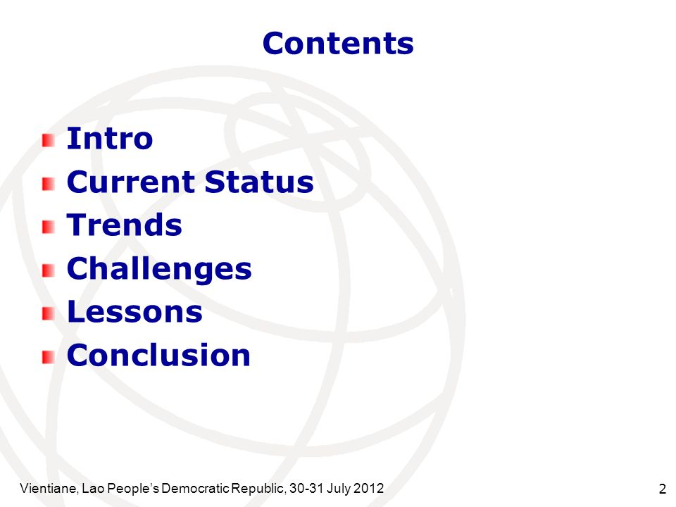 Contents Intro Current Status Trends Challenges Lessons Conclusion
