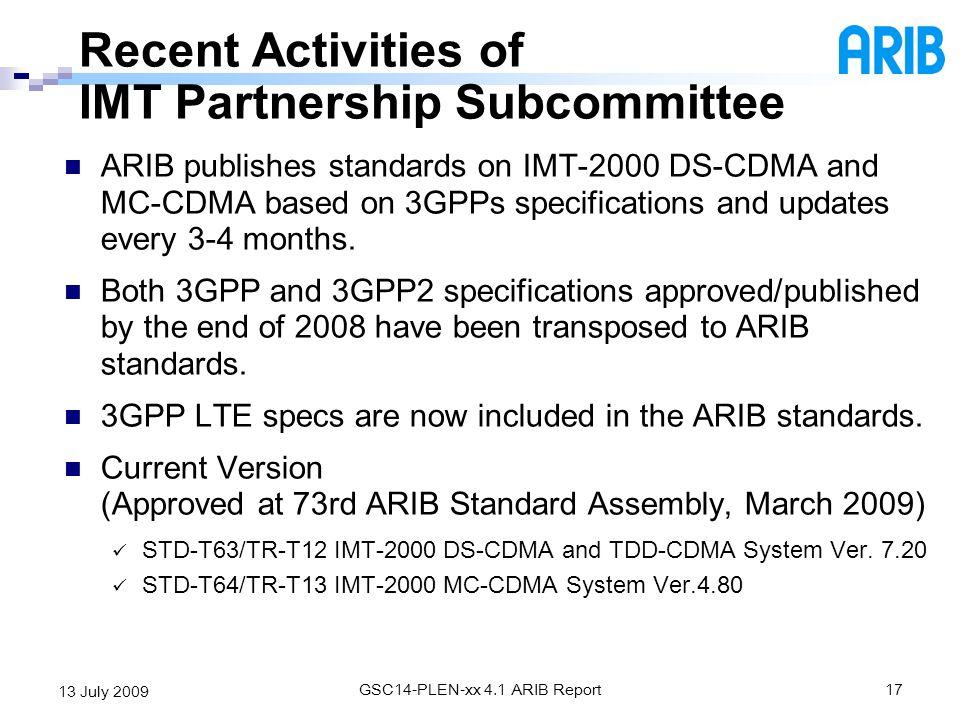 Recent Activities of IMT Partnership Subcommittee