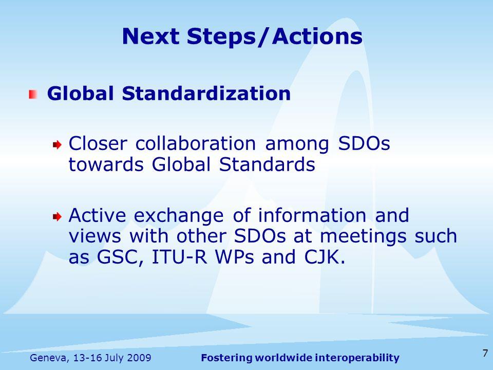 Next Steps/Actions Global Standardization