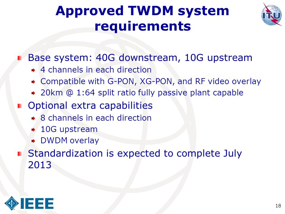 Approved TWDM system requirements
