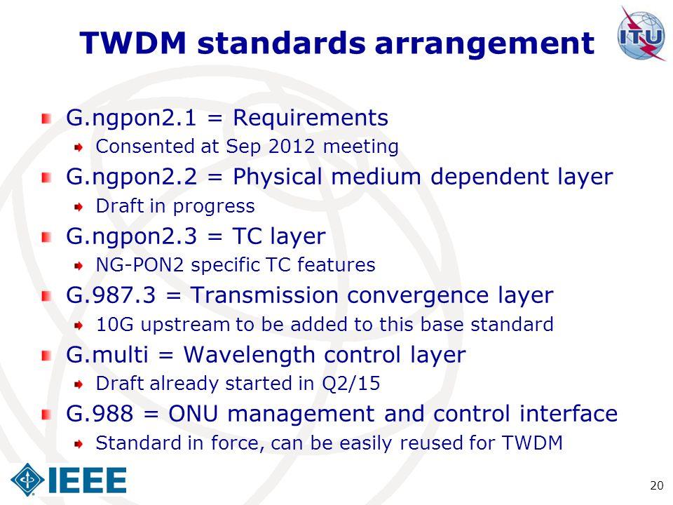 TWDM standards arrangement