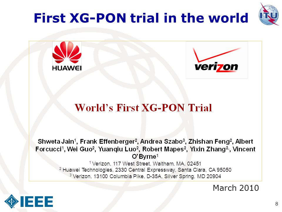 First XG-PON trial in the world