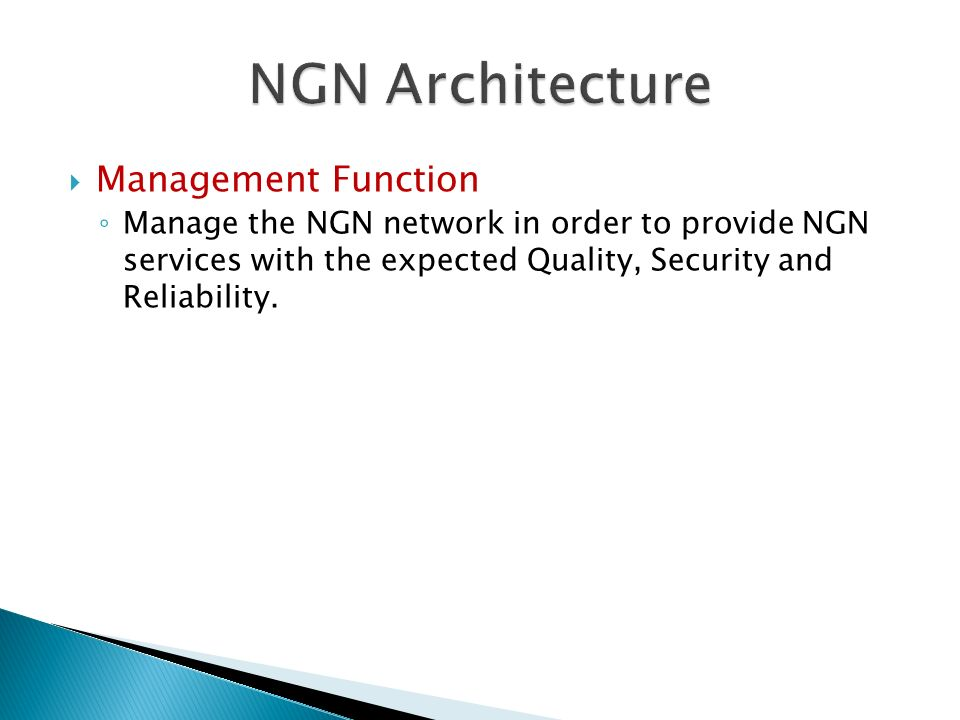 NGN Architecture Management Function