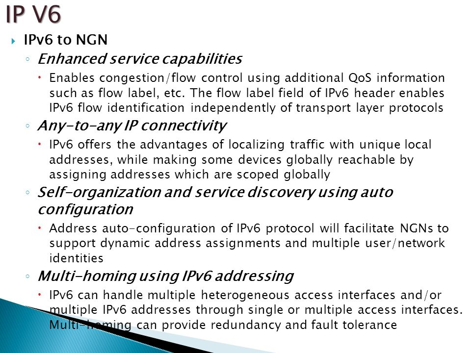 IP V6 IPv6 to NGN Enhanced service capabilities