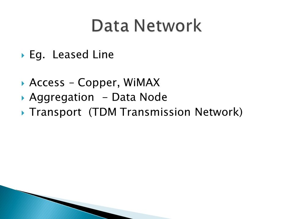 Data Network Eg. Leased Line Access – Copper, WiMAX