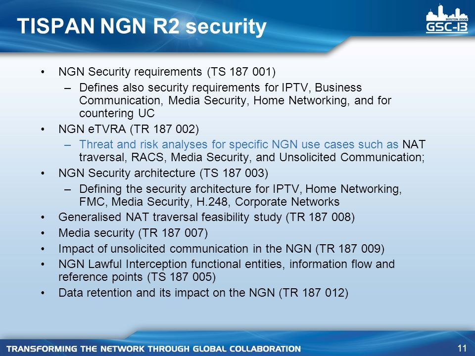 TISPAN NGN R2 security NGN Security requirements (TS 187 001)