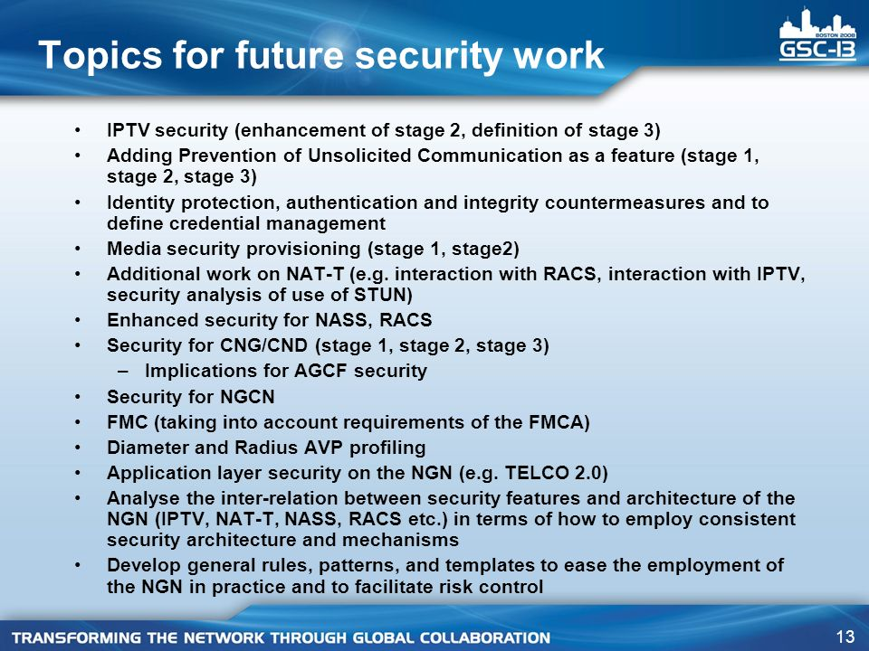 Topics for future security work