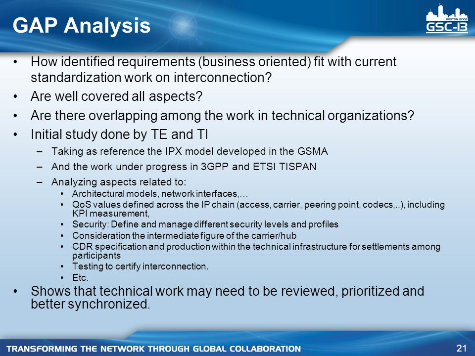 GAP Analysis How identified requirements (business oriented) fit with current standardization work on interconnection