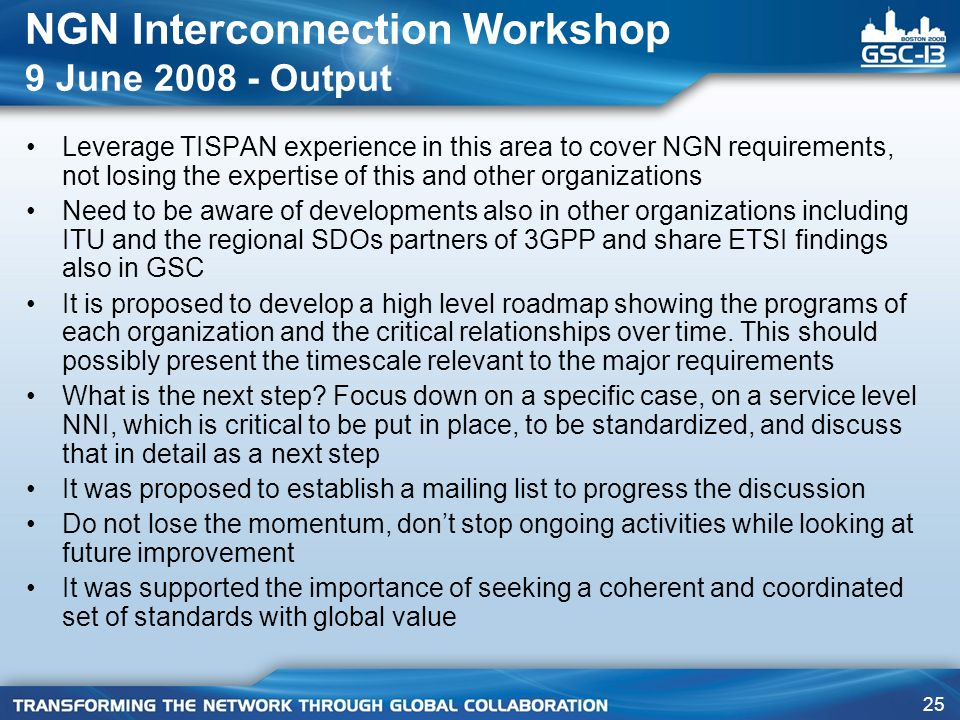 NGN Interconnection Workshop 9 June Output