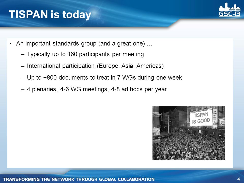 TISPAN is today An important standards group (and a great one) …