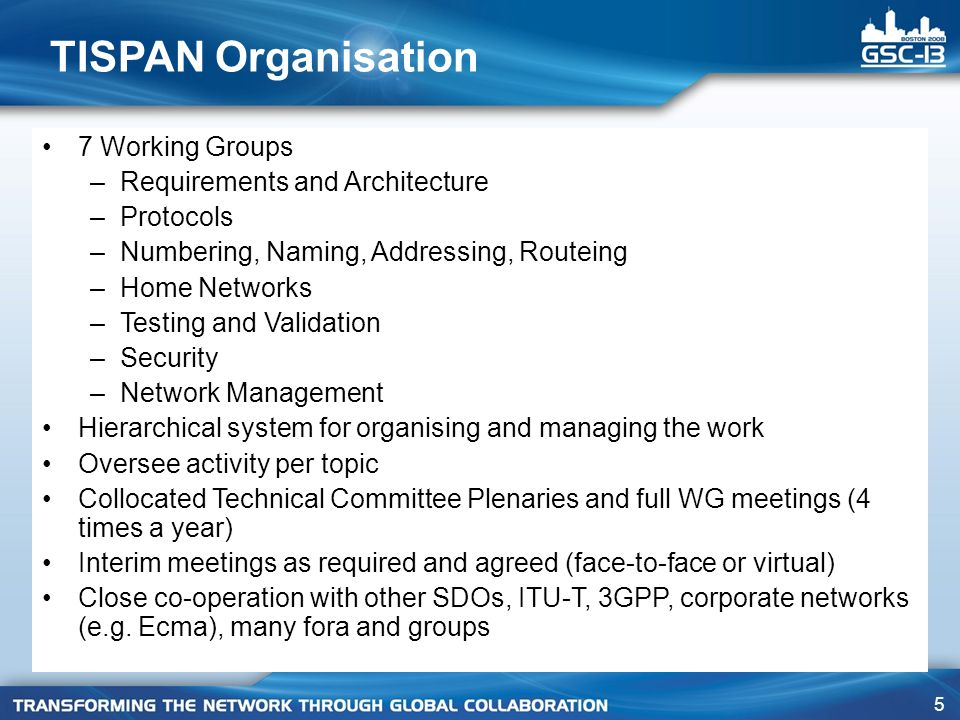 TISPAN Organisation 7 Working Groups Requirements and Architecture