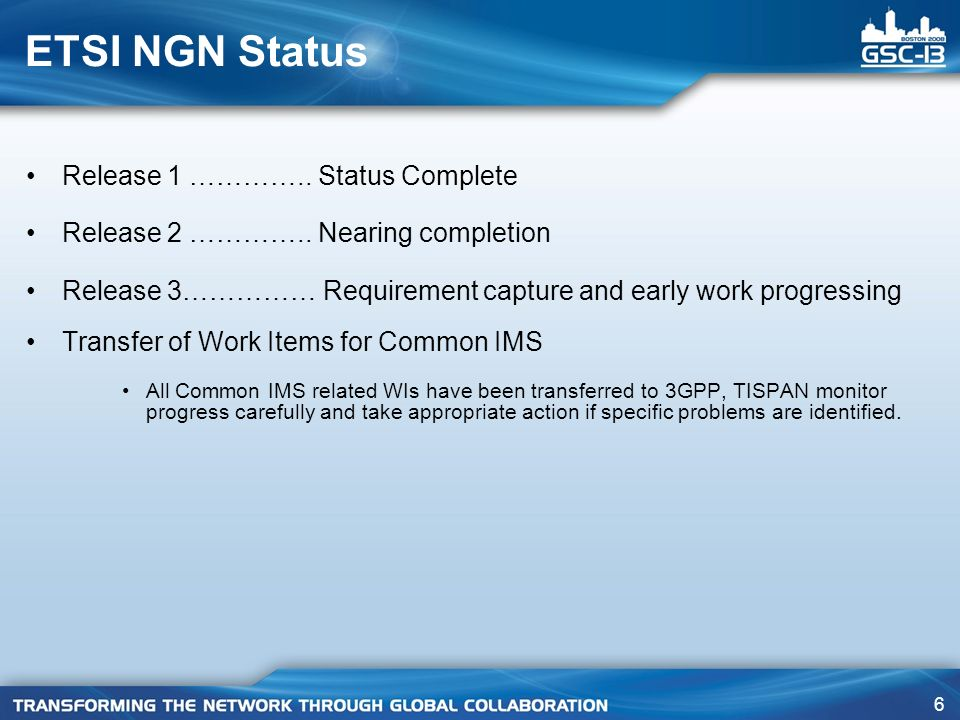 ETSI NGN Status Release 1 ………….. Status Complete