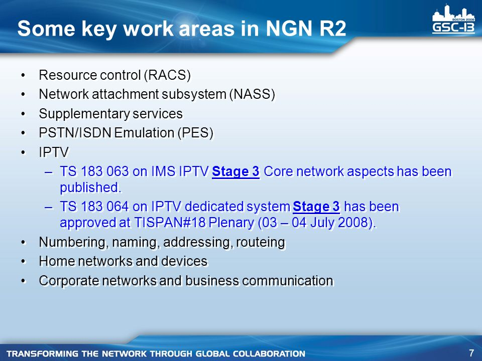 Some key work areas in NGN R2