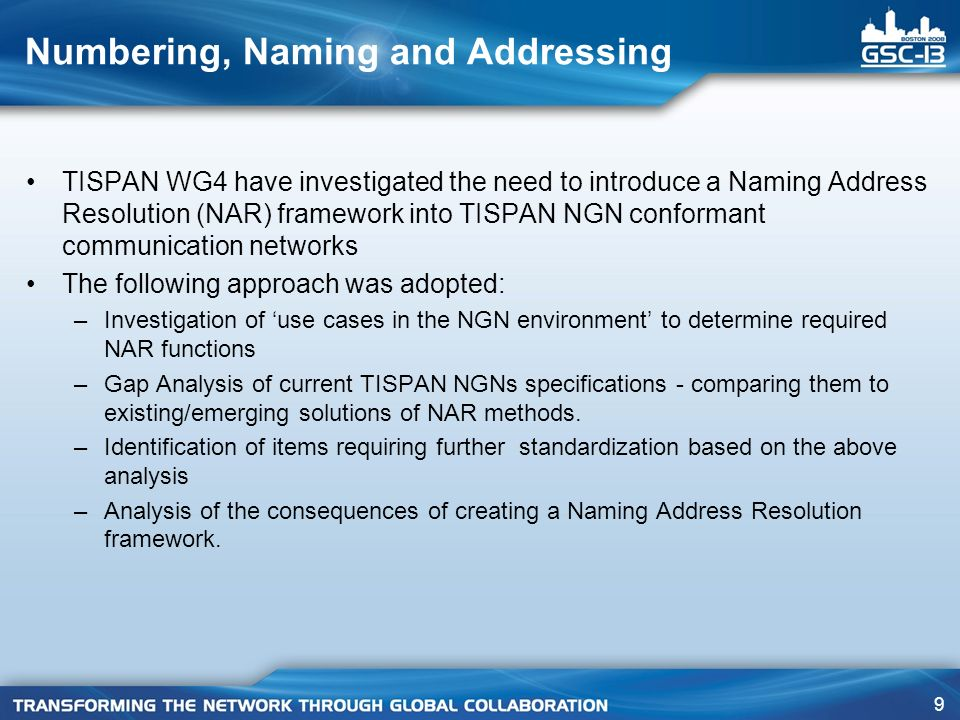 Numbering, Naming and Addressing