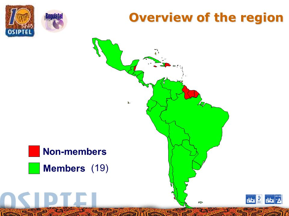 Overview of the region Non-members (19) Members