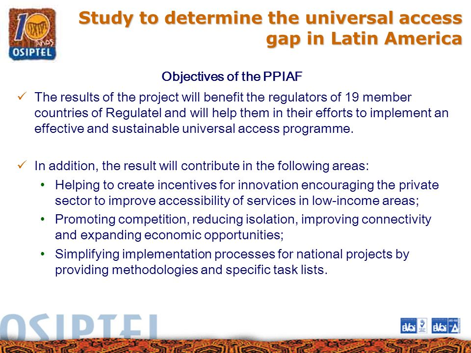 Study to determine the universal access gap in Latin America