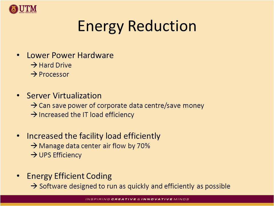 Energy Reduction Lower Power Hardware Server Virtualization