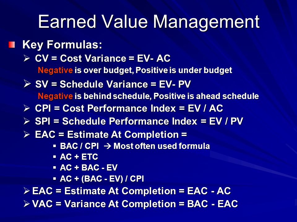 project management formulas The value gained can be assessed along the progression of the project in reality, earned value management is very complicated as value usually  fixed formula.