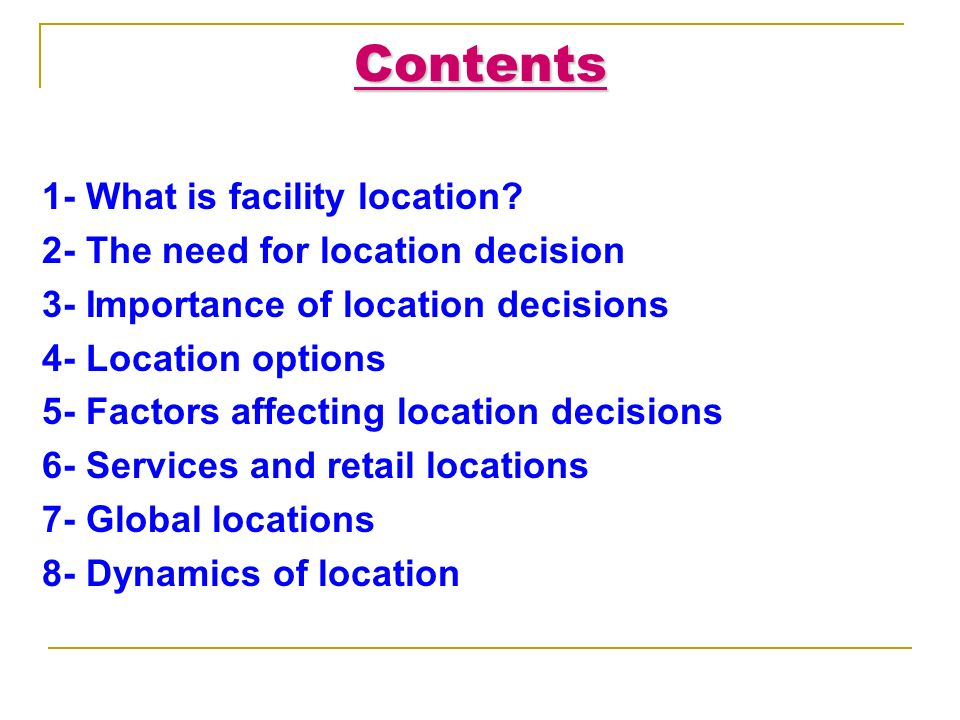 importance of facility location Keywords: facility location importance, location strategy benefits logistics and the supply chain involve many complex activities which require optimal strategic decisions in order to operate efficiently and effectively logistics managers are under a.