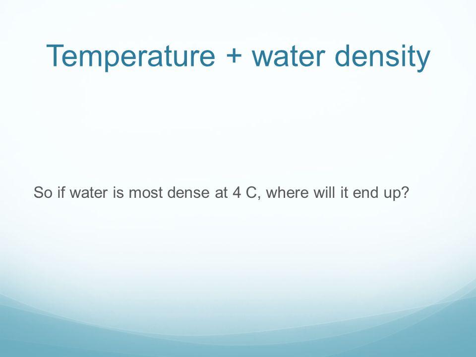 Temperature + water density
