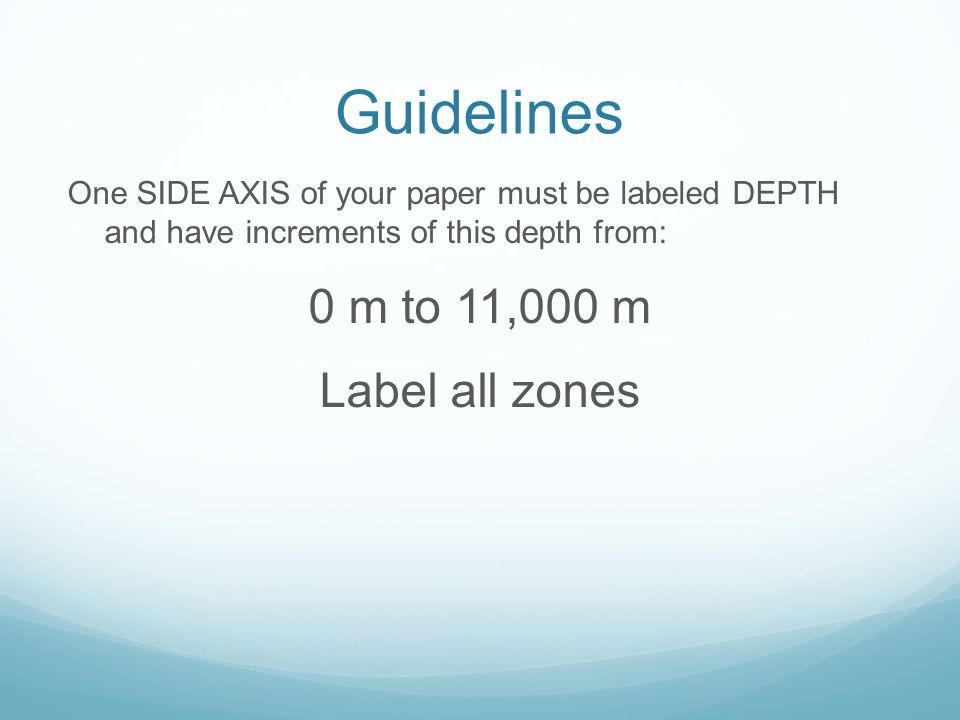 Guidelines 0 m to 11,000 m Label all zones