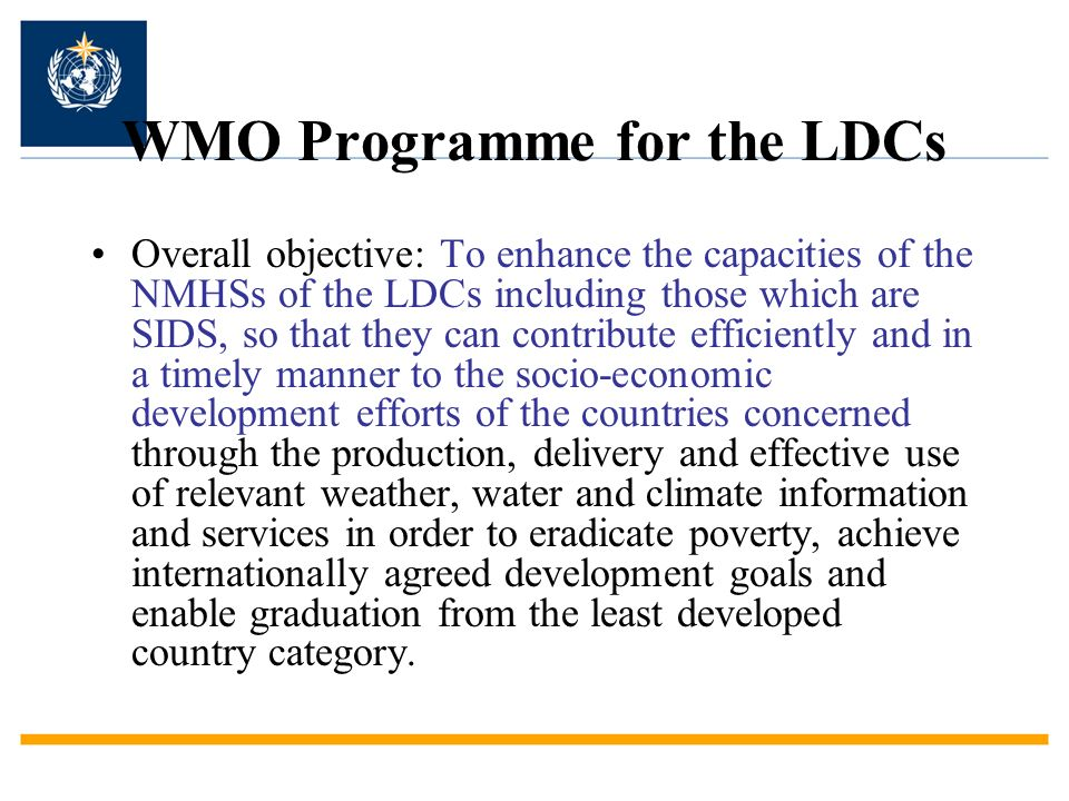 WMO Programme for the LDCs