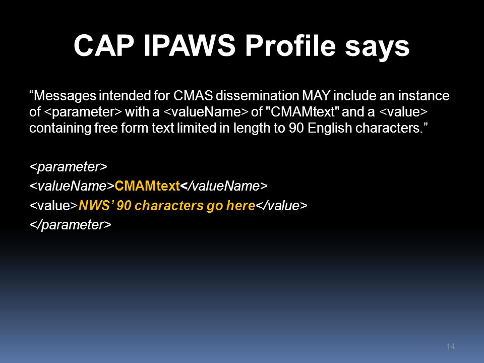 CAP IPAWS Profile says