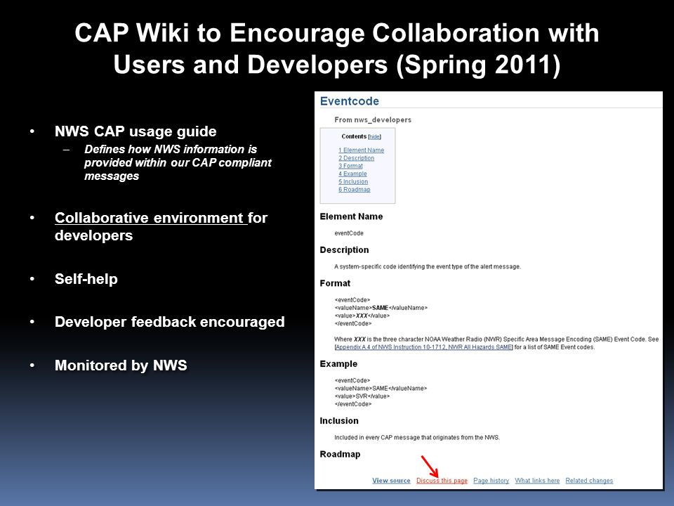 CAP Wiki to Encourage Collaboration with Users and Developers (Spring 2011)