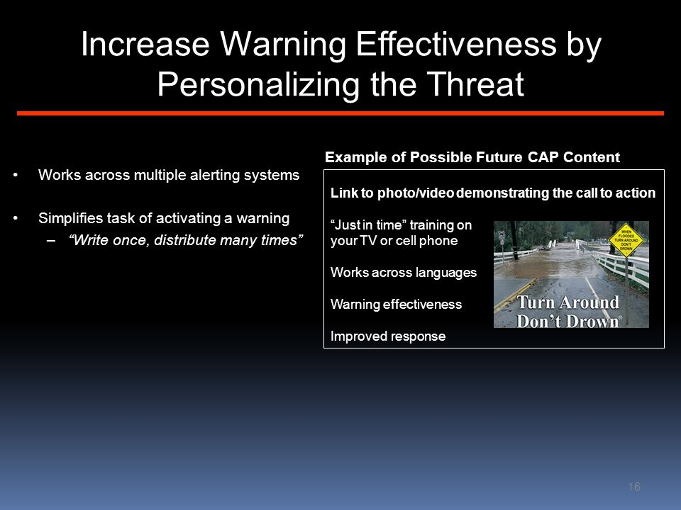 Increase Warning Effectiveness by Personalizing the Threat