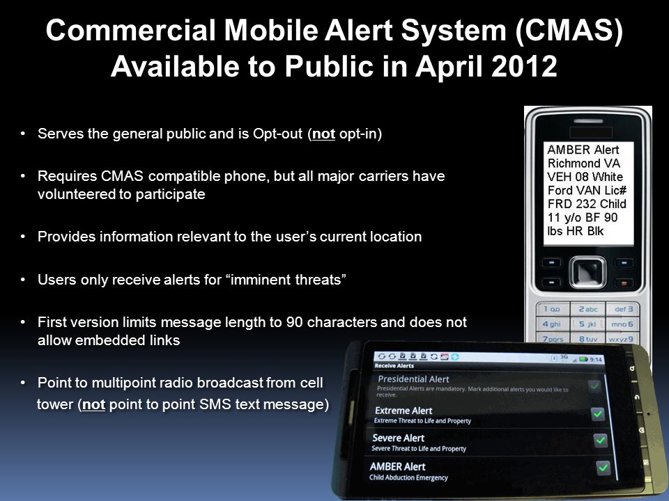 Commercial Mobile Alert System (CMAS) Available to Public in April 2012