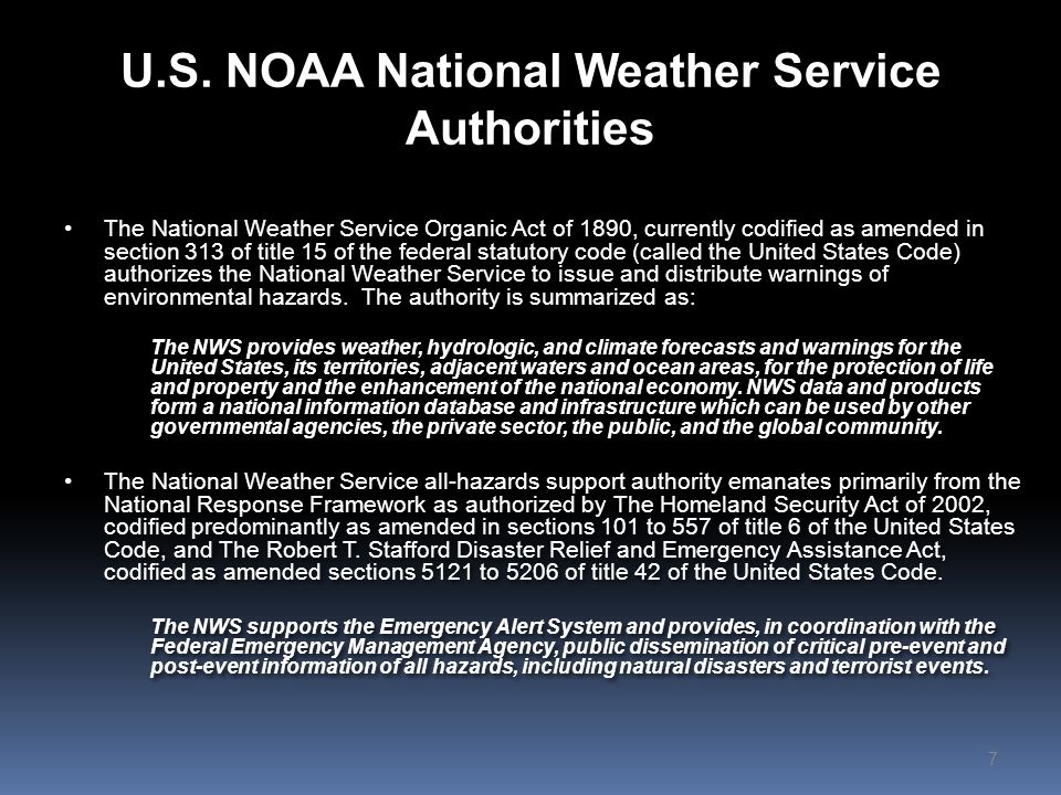 U.S. NOAA National Weather Service Authorities