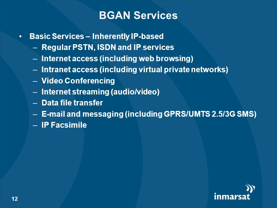 BGAN Services Basic Services – Inherently IP-based