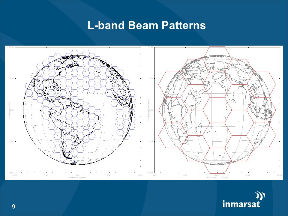 L-band Beam PatternsThese bean plots should give you an idea of the type of coverage offered by BGAN.