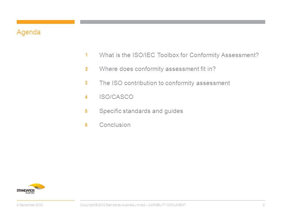 Agenda What is the ISO/IEC Toolbox for Conformity Assessment